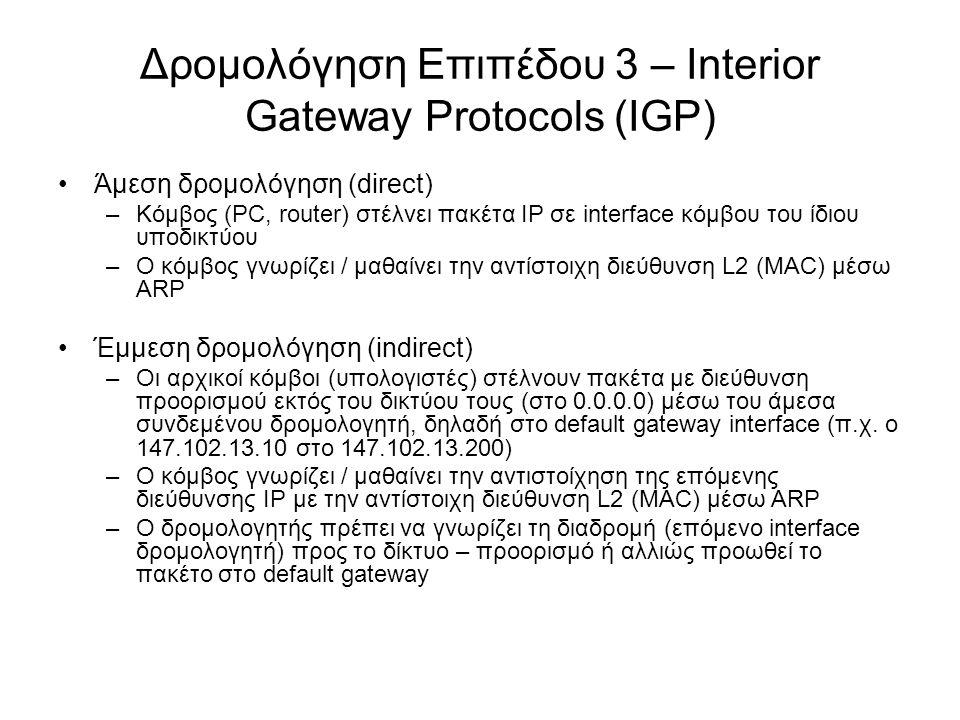 Δρομολόγηση Επιπέδου 3 – Interior Gateway Protocols (IGP) Άμεση δρομολόγηση (direct) –Κόμβος (PC, router) στέλνει πακέτα IP σε interface κόμβου του ίδ