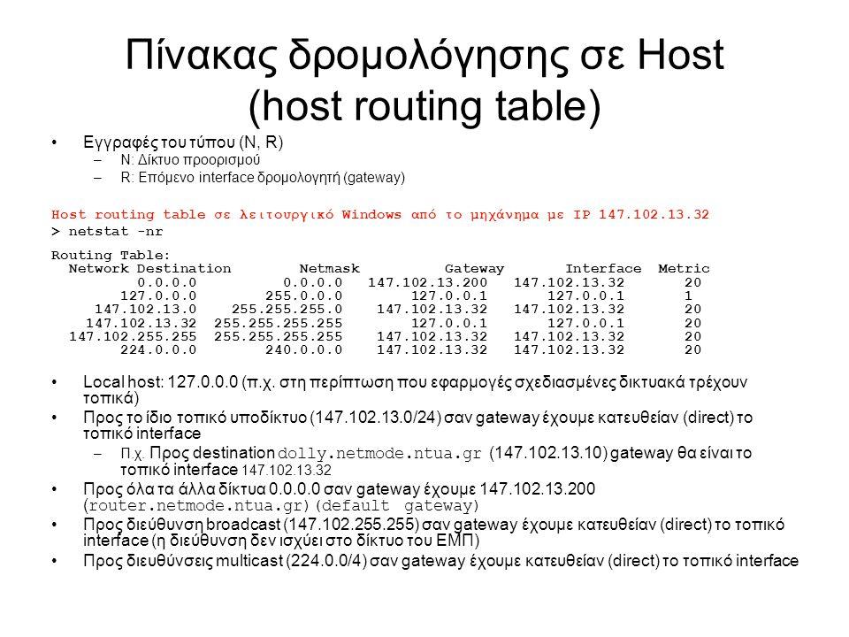 Πίνακας δρομολόγησης σε Host (host routing table) Εγγραφές του τύπου (N, R) –N: Δίκτυο προορισμού –R: Επόμενο interface δρομολογητή (gateway) Host rou