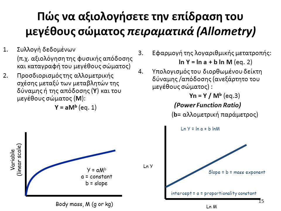 15 Πώς να αξιολογήσετε την επίδραση του μεγέθους σώματος πειραματικά (Allometry) 1.Συλλογή δεδομένων (π.χ.