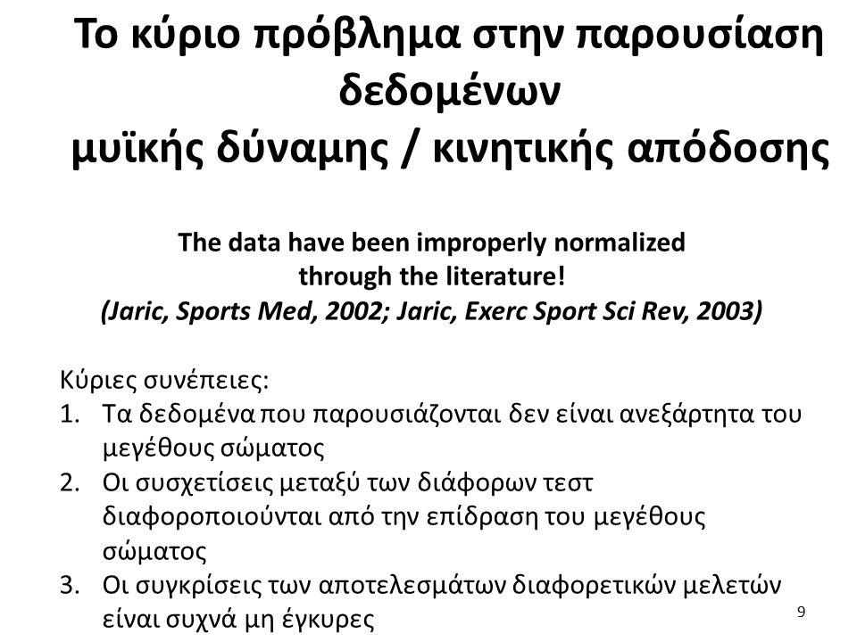 Κινητικές /Λειτουργικές Δοκιμασίες Το πρόβλημα : Το πρόβλημα : Δίνεται ακόμα μικρότερη σημασία στην επίδραση του μεγέθους σώματος όταν παρουσιάζονται δεδομένα μυϊκής δύναμης (Jaric, Sports Med, 2002) Το ερώτημα : Το ερώτημα : θα μπορούσαμε να διακρίνουμε ειδικές ομάδες δοκιμασιών λαμβάνοντας υπόψη τον ρόλο του μεγέθους σώματος; 20
