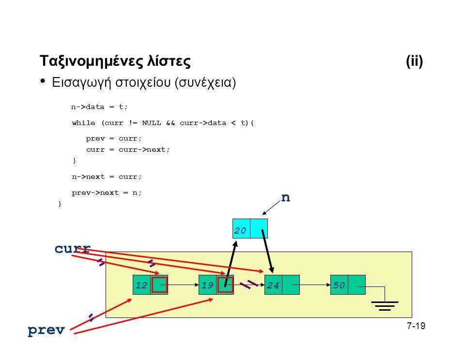 7-19 Ταξινομημένες λίστες(ii) Εισαγωγή στοιχείου (συνέχεια) n->data = t; while (curr != NULL && curr->data < t){ prev = curr; curr = curr->next; } n->next = curr; prev->next = n; } 12192450 n 20 curr prev