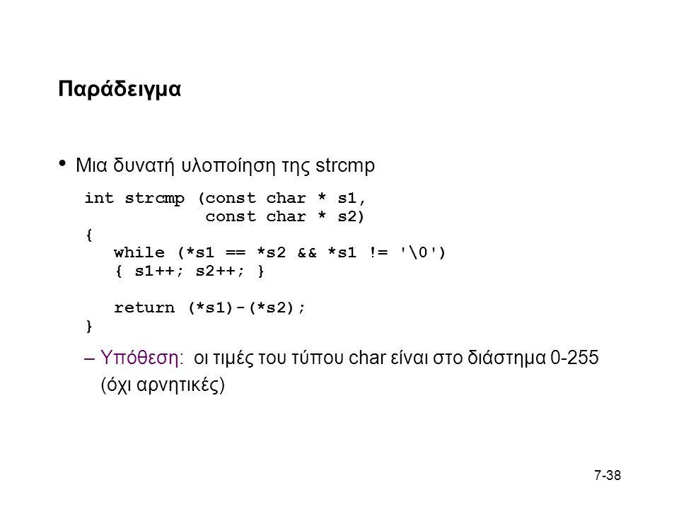 7-38 Παράδειγμα Μια δυνατή υλοποίηση της strcmp int strcmp (const char * s1, const char * s2) { while (*s1 == *s2 && *s1 != \0 ) { s1++; s2++; } return (*s1)-(*s2); } –Υπόθεση: οι τιμές του τύπου char είναι στο διάστημα 0-255 (όχι αρνητικές)