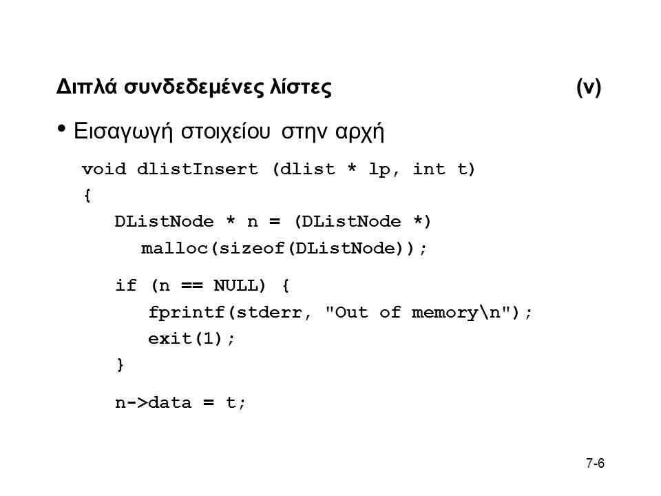 7-6 Διπλά συνδεδεμένες λίστες(v) Εισαγωγή στοιχείου στην αρχή void dlistInsert (dlist * lp, int t) { DListNode * n = (DListNode *) malloc(sizeof(DListNode)); if (n == NULL) { fprintf(stderr, Out of memory\n ); exit(1); } n->data = t;