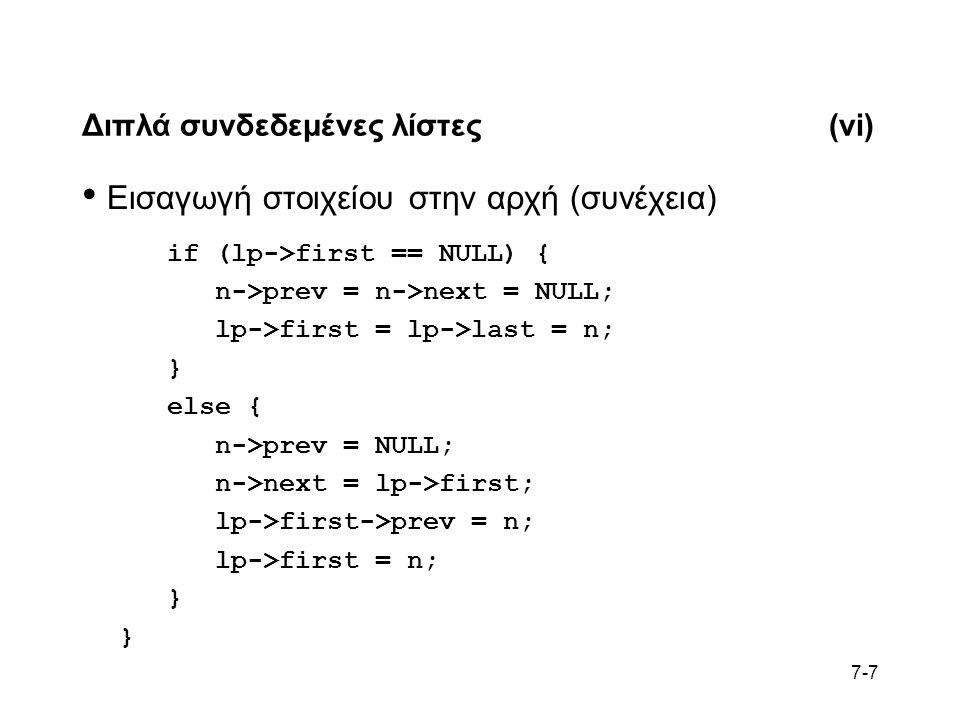 7-7 Διπλά συνδεδεμένες λίστες(vi) Εισαγωγή στοιχείου στην αρχή (συνέχεια) if (lp->first == NULL) { n->prev = n->next = NULL; lp->first = lp->last = n; } else { n->prev = NULL; n->next = lp->first; lp->first->prev = n; lp->first = n; }