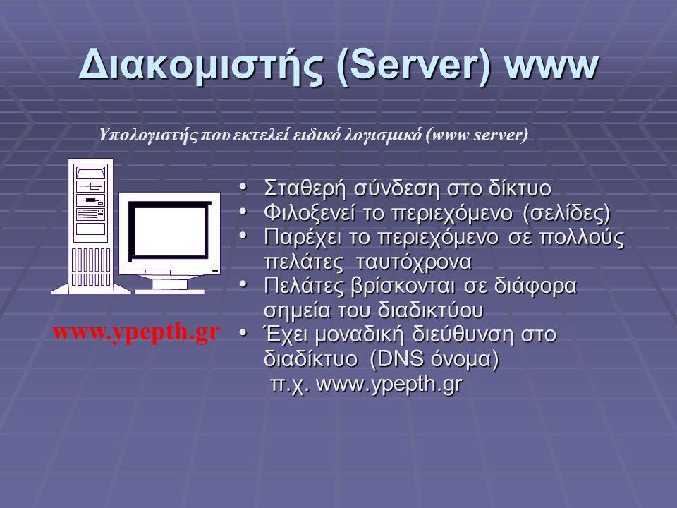 Διακομιστής (Server) www Σταθερή σύνδεση στο δίκτυο Σταθερή σύνδεση στο δίκτυο Φιλοξενεί το περιεχόμενο (σελίδες) Φιλοξενεί το περιεχόμενο (σελίδες) Π