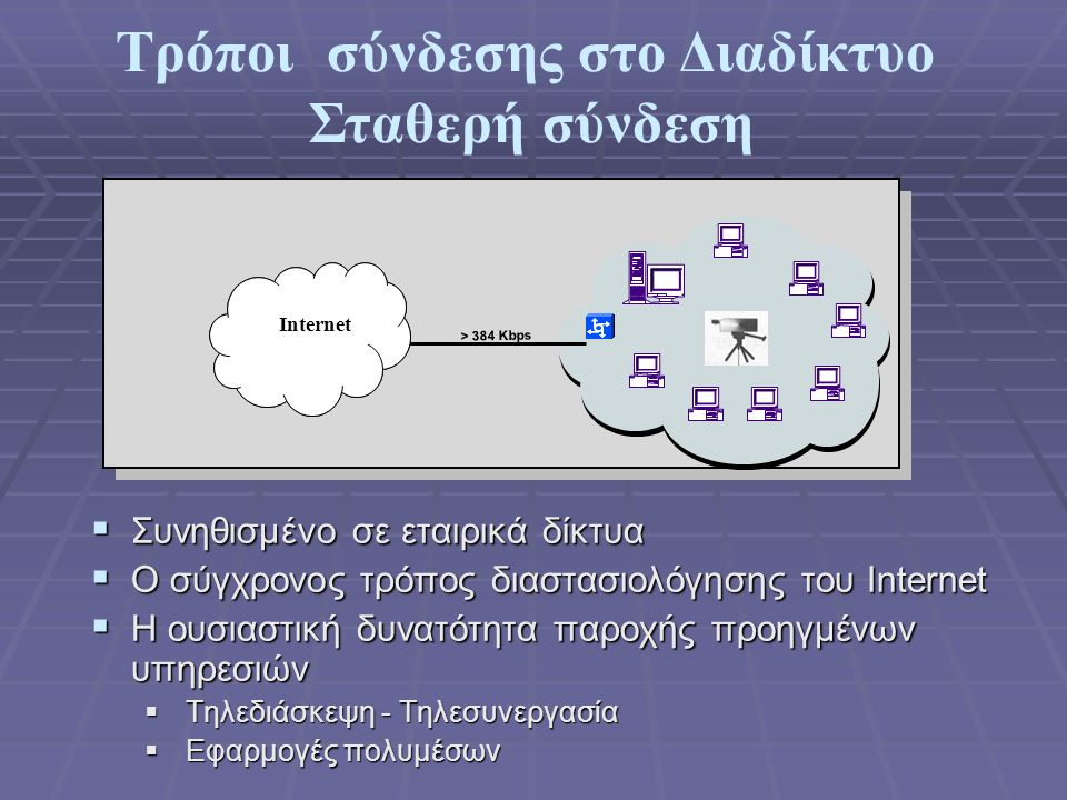 Υπηρεσίες του Internet  Ηλεκτρονικό Ταχυδρομείο(E-Μail)  Παγκόσμιος Ιστός - WWW (World Wide Web)  Μεταφορά αρχείων(ftp)  Ηλεκτρονικοί πίνακες ανακοινώσεων (News)  Άλλες υπηρεσίες  Χρήση μακρινού υπολογιστή (telnet)  Συνομιλία (Chat)  Τηλεδιάσκεψη ( meeting)  Tηλεσυνεργασία  Μετάδοση ήχου (Real Audio)  Μετάδοση Video