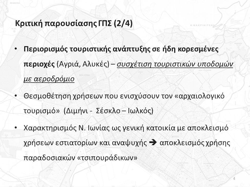 Κριτική παρουσίασης ΓΠΣ (2/4) Περιορισμός τουριστικής ανάπτυξης σε ήδη κορεσμένες περιοχές (Αγριά, Αλυκές) – συσχέτιση τουριστικών υποδομών με αεροδρόμιο Θεσμοθέτηση χρήσεων που ενισχύσουν τον «αρχαιολογικό τουρισμό» (Διμήνι - Σέσκλο – Ιωλκός) Χαρακτηρισμός Ν.