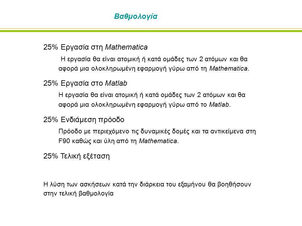 Βαθμολογία 25% Εργασία στη Mathematica Η εργασία θα είναι ατομική ή κατά ομάδες των 2 ατόμων και θα αφορά μια ολοκληρωμένη εφαρμογή γύρω από τη Mathematica.