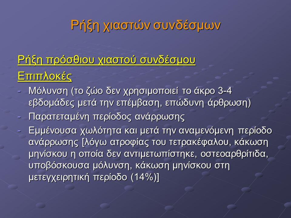 Ρήξη χιαστών συνδέσμων Ρήξη πρόσθιου χιαστού συνδέσμου Επιπλοκές -Μόλυνση (το ζώο δεν χρησιμοποιεί το άκρο 3-4 εβδομάδες μετά την επέμβαση, επώδυνη άρ