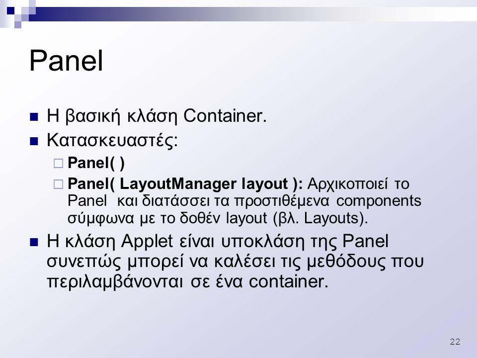 22 Panel Η βασική κλάση Container.