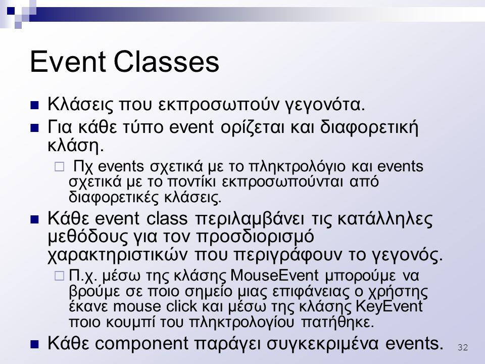 32 Event Classes Κλάσεις που εκπροσωπούν γεγονότα.