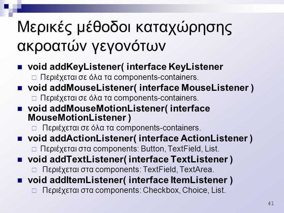 41 Μερικές μέθοδοι καταχώρησης ακροατών γεγονότων void addKeyListener( interface KeyListener  Περιέχεται σε όλα τα components-containers.