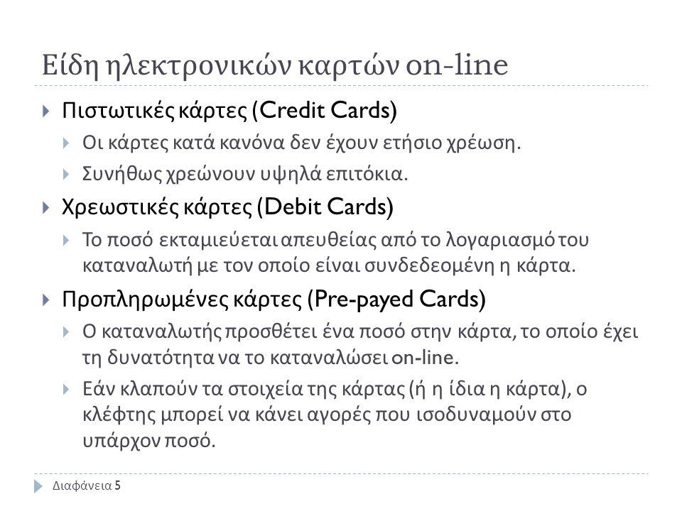 Εικονικές πιστωτικές κάρτες  Το πιστωτικό ίδρυμα προμηθεύει το χρήστη μέ ένα κωδικό μίας χρήσεως για την επίτευξη αγοράς.