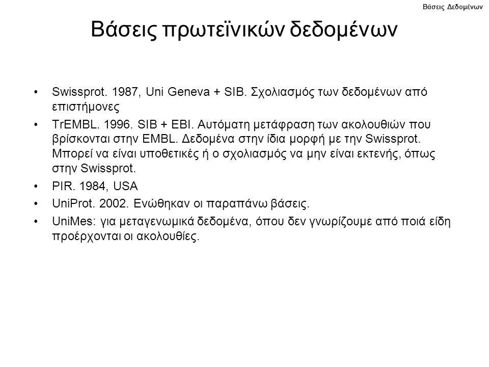 Βάσεις πρωτεϊνικών δεδομένων Swissprot.1987, Uni Geneva + SIB.