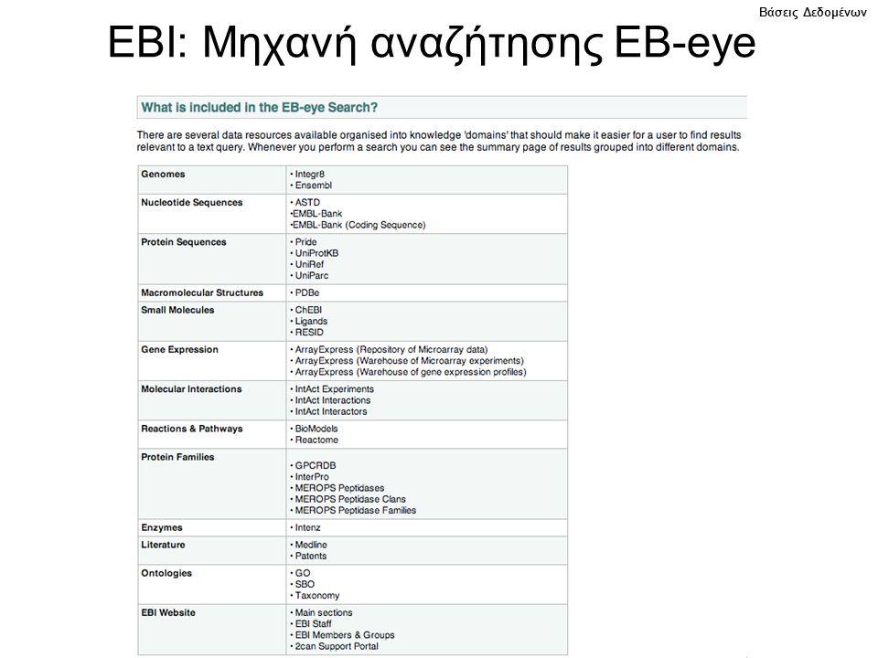 EBI: Μηχανή αναζήτησης EB-eye Βάσεις Δεδομένων