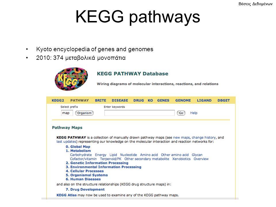 KEGG pathways Kyoto encyclopedia of genes and genomes 2010: 374 μεταβολικά μονοπάτια Βάσεις Δεδομένων
