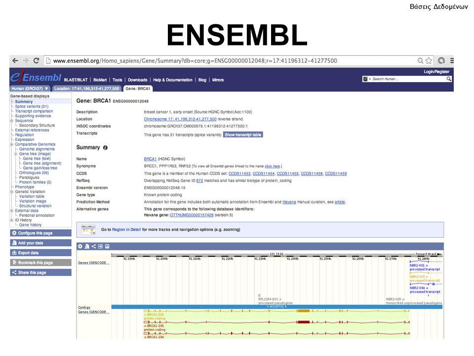 ENSEMBL Βάσεις Δεδομένων