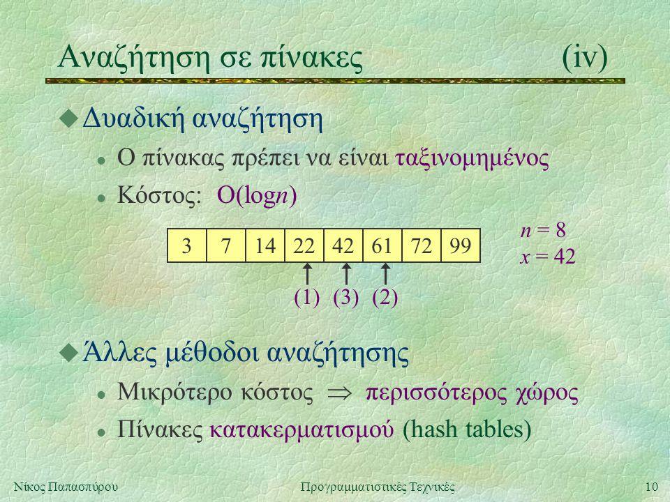 10Νίκος ΠαπασπύρουΠρογραμματιστικές Τεχνικές Αναζήτηση σε πίνακες(iv) u Δυαδική αναζήτηση l Ο πίνακας πρέπει να είναι ταξινομημένος l Κόστος: O(logn) 37142242617299 n = 8 x = 42 (1)(3)(2) u Άλλες μέθοδοι αναζήτησης l Μικρότερο κόστος  περισσότερος χώρος l Πίνακες κατακερματισμού (hash tables)