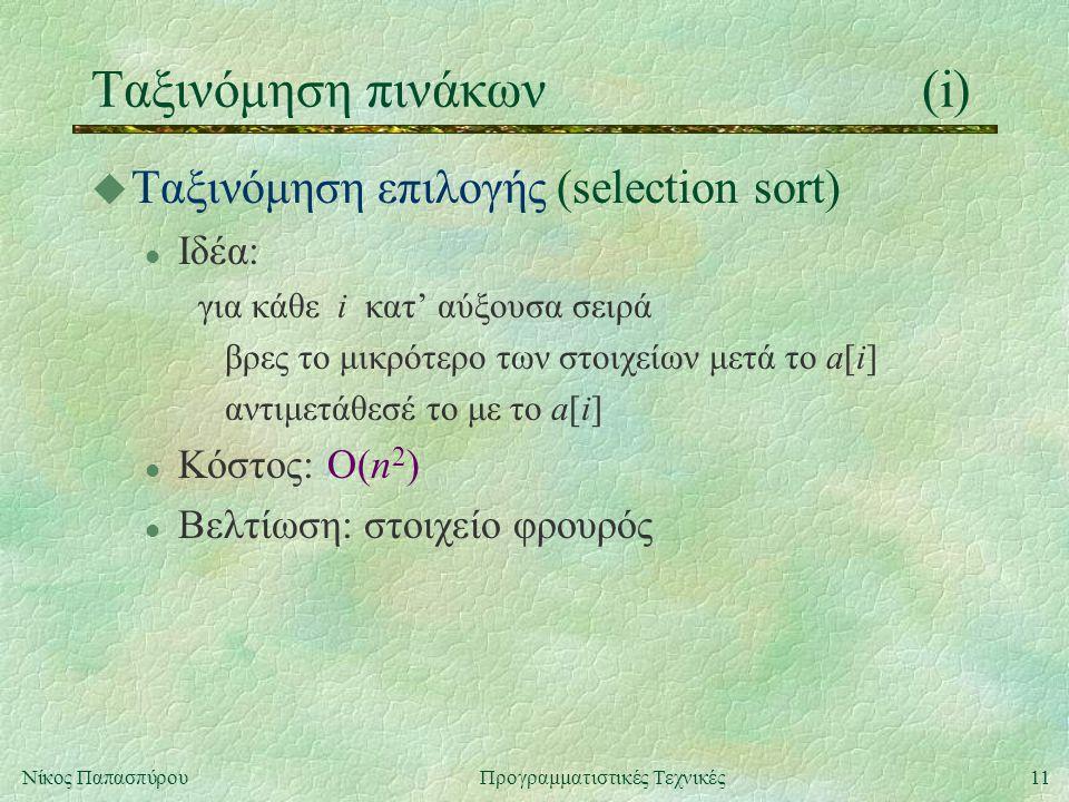 11Νίκος ΠαπασπύρουΠρογραμματιστικές Τεχνικές Ταξινόμηση πινάκων(i) u Ταξινόμηση επιλογής (selection sort) l Ιδέα: για κάθε i κατ' αύξουσα σειρά βρες το μικρότερο των στοιχείων μετά το a[i] αντιμετάθεσέ το με το a[i] l Κόστος: Ο(n 2 ) l Βελτίωση: στοιχείο φρουρός