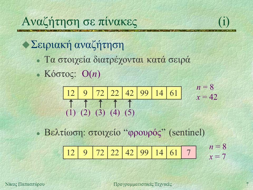 18Νίκος ΠαπασπύρουΠρογραμματιστικές Τεχνικές Ταξινόμηση πινάκων(viii) u Quick sort, υλοποίηση σε C void qsort (int a[], int n) { qsort_auxil(a, 0, n-1); } void qsort_auxil (int a[], int lower, int upper) { if (lower < upper) { int x = a[(lower + upper) / 2]; int i, j; for (i = lower, j = upper; i <= j; i++, j--) { while (a[i] < x) i++; while (a[j] > x) j--;