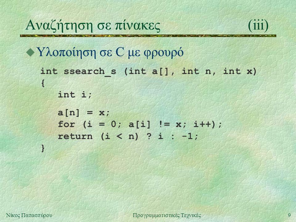 20Νίκος ΠαπασπύρουΠρογραμματιστικές Τεχνικές Ταξινόμηση πινάκων(x) u Άλλοι τρόποι ταξινόμησης l Ταξινόμηση του Shell (shell sort), κόστος: Ο(n 2 ) l Ταξινόμηση σε σωρό (heap sort), κόστος: Ο(n logn) l Ταξινόμηση με συγχώνευση (merge sort), κόστος: Ο(n logn)