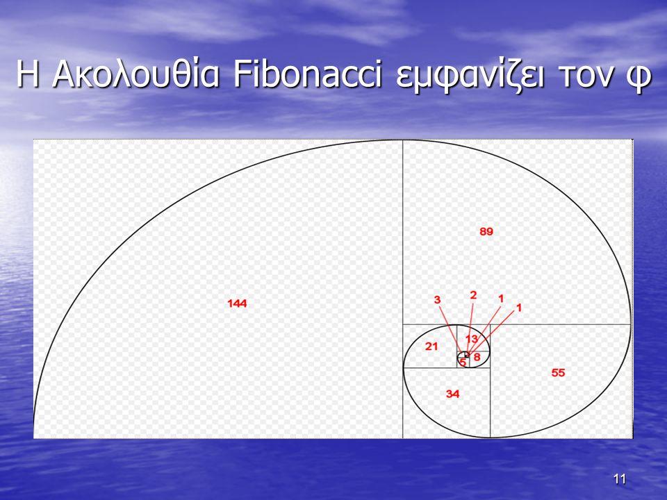 11 Η Ακολουθία Fibonacci εμφανίζει τον φ