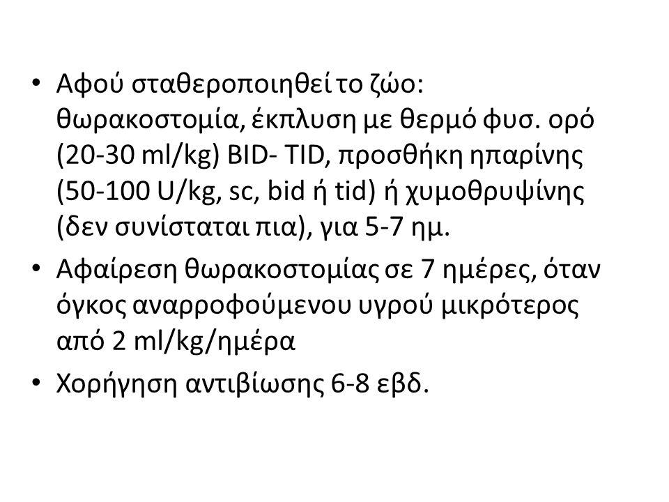 Αφού σταθεροποιηθεί το ζώο: θωρακοστομία, έκπλυση με θερμό φυσ. ορό (20-30 ml/kg) BID- TID, προσθήκη ηπαρίνης (50-100 U/kg, sc, bid ή tid) ή χυμοθρυψί