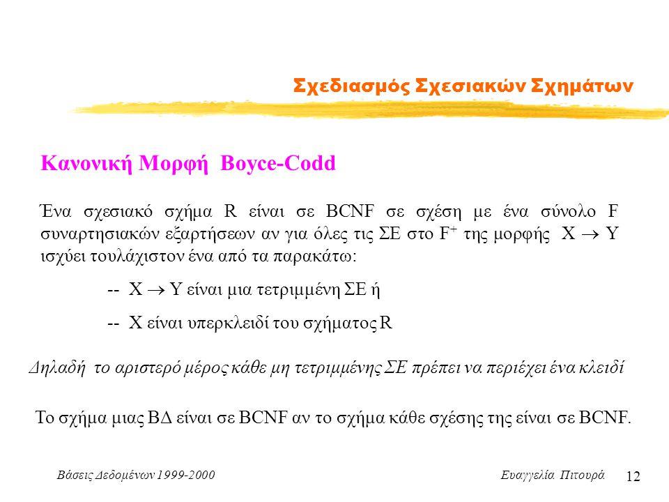 Βάσεις Δεδομένων 1999-2000 Ευαγγελία Πιτουρά 12 Σχεδιασμός Σχεσιακών Σχημάτων Κανονική Μορφή Boyce-Codd Ένα σχεσιακό σχήμα R είναι σε BCNF σε σχέση με ένα σύνολο F συναρτησιακών εξαρτήσεων αν για όλες τις ΣΕ στο F + της μορφής X  Y ισχύει τουλάχιστον ένα από τα παρακάτω: -- X  Y είναι μια τετριμμένη ΣΕ ή -- X είναι υπερκλειδί του σχήματος R Το σχήμα μιας ΒΔ είναι σε BCNF αν το σχήμα κάθε σχέσης της είναι σε BCNF.