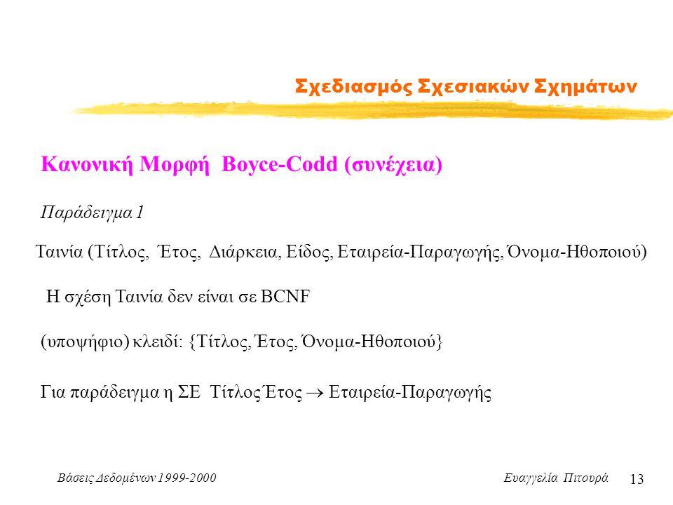 Βάσεις Δεδομένων 1999-2000 Ευαγγελία Πιτουρά 13 Σχεδιασμός Σχεσιακών Σχημάτων Κανονική Μορφή Boyce-Codd (συνέχεια) Παράδειγμα 1 Ταινία (Τίτλος, Έτος, Διάρκεια, Είδος, Εταιρεία-Παραγωγής, Όνομα-Ηθοποιού) Η σχέση Ταινία δεν είναι σε BCNF (υποψήφιο) κλειδί: {Τίτλος, Έτος, Όνομα-Ηθοποιού} Για παράδειγμα η ΣΕ Τίτλος Έτος  Εταιρεία-Παραγωγής