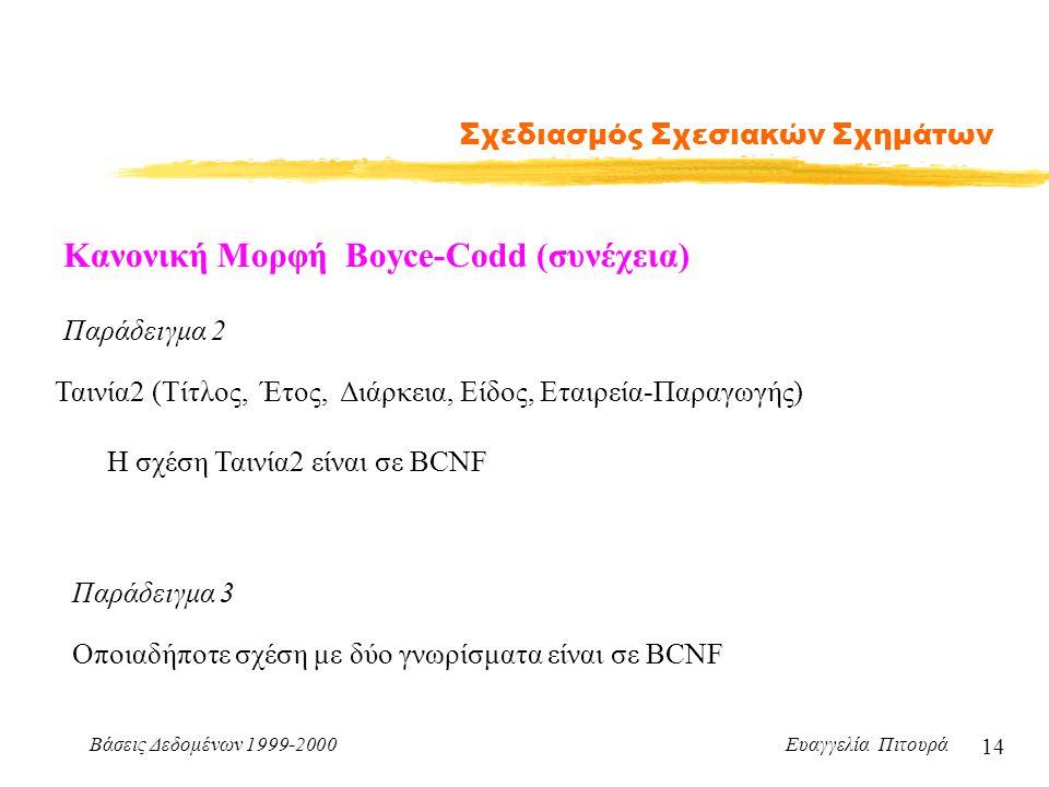 Βάσεις Δεδομένων 1999-2000 Ευαγγελία Πιτουρά 14 Σχεδιασμός Σχεσιακών Σχημάτων Κανονική Μορφή Boyce-Codd (συνέχεια) Παράδειγμα 2 Ταινία2 (Τίτλος, Έτος, Διάρκεια, Είδος, Εταιρεία-Παραγωγής) Η σχέση Ταινία2 είναι σε BCNF Παράδειγμα 3 Οποιαδήποτε σχέση με δύο γνωρίσματα είναι σε BCNF