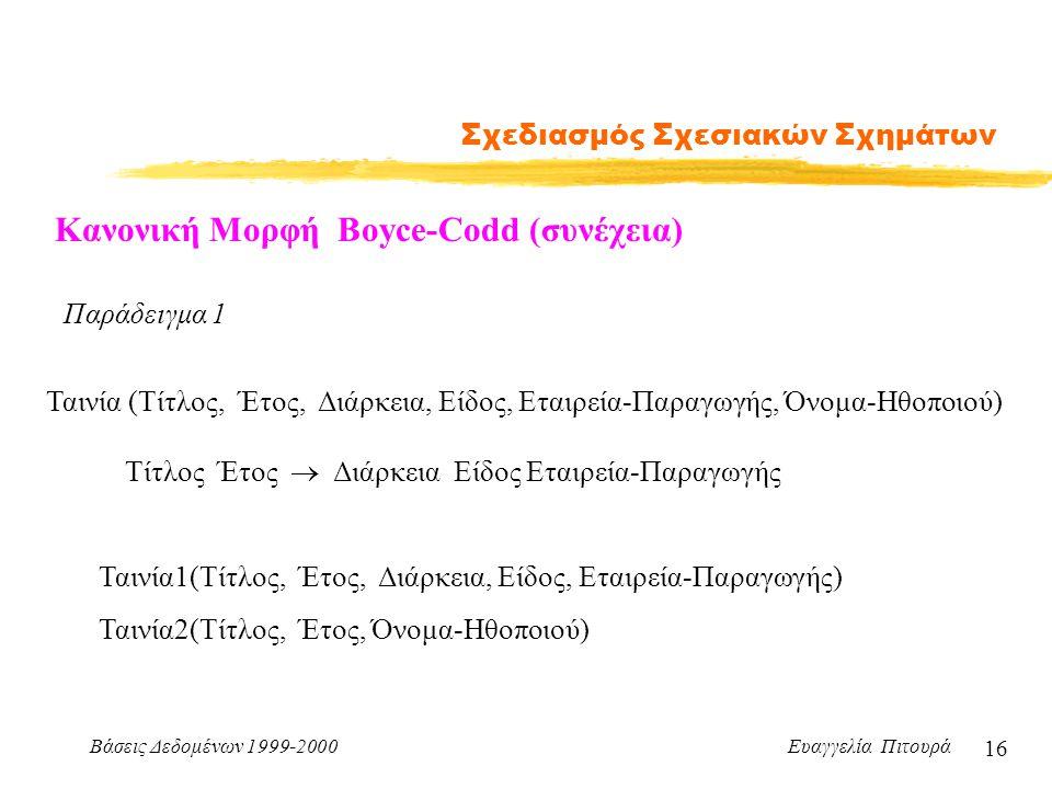 Βάσεις Δεδομένων 1999-2000 Ευαγγελία Πιτουρά 16 Σχεδιασμός Σχεσιακών Σχημάτων Κανονική Μορφή Boyce-Codd (συνέχεια) Παράδειγμα 1 Ταινία (Τίτλος, Έτος, Διάρκεια, Είδος, Εταιρεία-Παραγωγής, Όνομα-Ηθοποιού) Τίτλος Έτος  Διάρκεια Είδος Εταιρεία-Παραγωγής Ταινία1(Τίτλος, Έτος, Διάρκεια, Είδος, Εταιρεία-Παραγωγής) Ταινία2(Τίτλος, Έτος, Όνομα-Ηθοποιού)