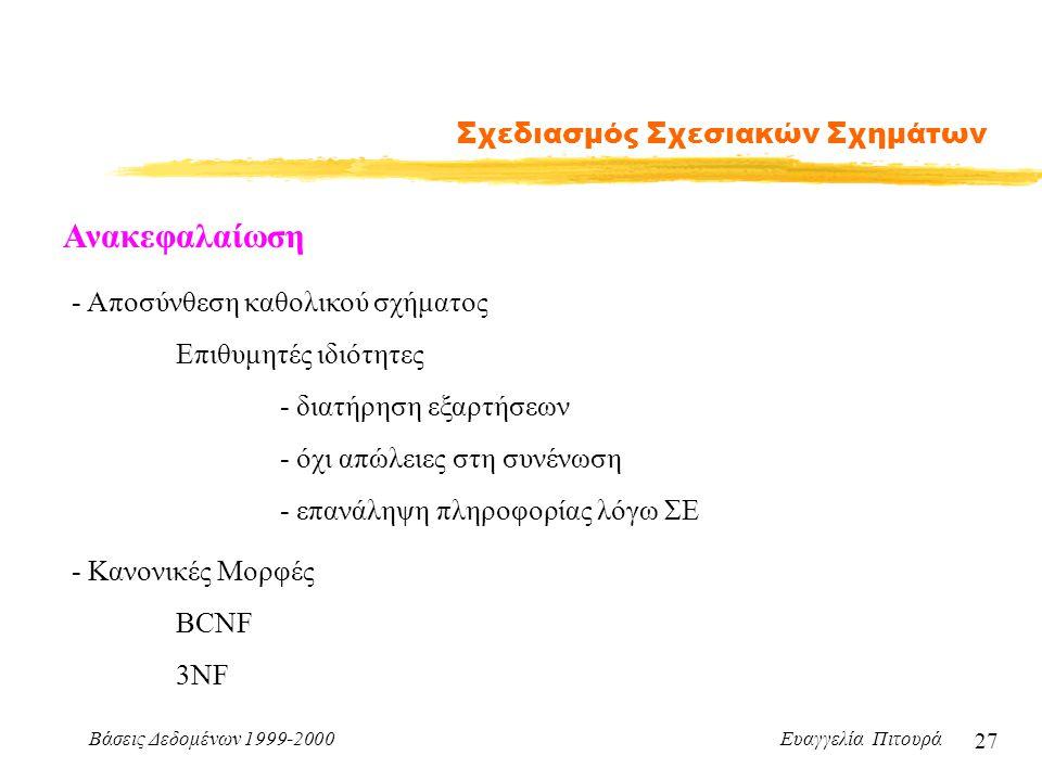 Βάσεις Δεδομένων 1999-2000 Ευαγγελία Πιτουρά 27 Σχεδιασμός Σχεσιακών Σχημάτων Ανακεφαλαίωση - Αποσύνθεση καθολικού σχήματος Επιθυμητές ιδιότητες - διατήρηση εξαρτήσεων - όχι απώλειες στη συνένωση - επανάληψη πληροφορίας λόγω ΣΕ - Κανονικές Μορφές BCNF 3NF