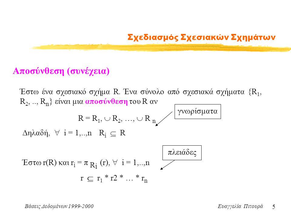 Βάσεις Δεδομένων 1999-2000 Ευαγγελία Πιτουρά 5 Σχεδιασμός Σχεσιακών Σχημάτων Έστω ένα σχεσιακό σχήμα R.