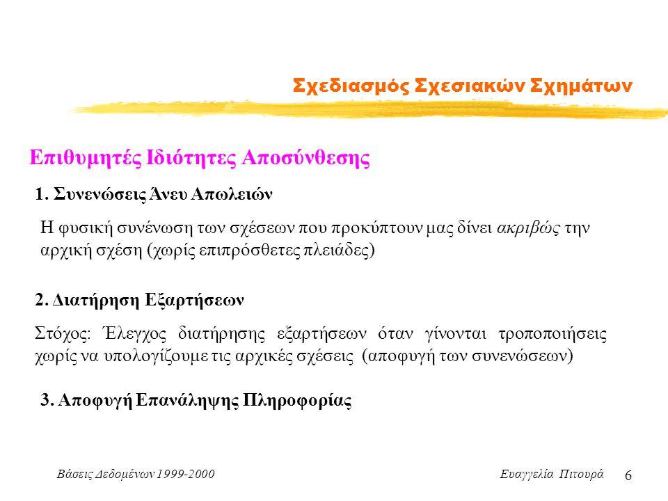 Βάσεις Δεδομένων 1999-2000 Ευαγγελία Πιτουρά 6 Σχεδιασμός Σχεσιακών Σχημάτων Επιθυμητές Ιδιότητες Αποσύνθεσης 1.