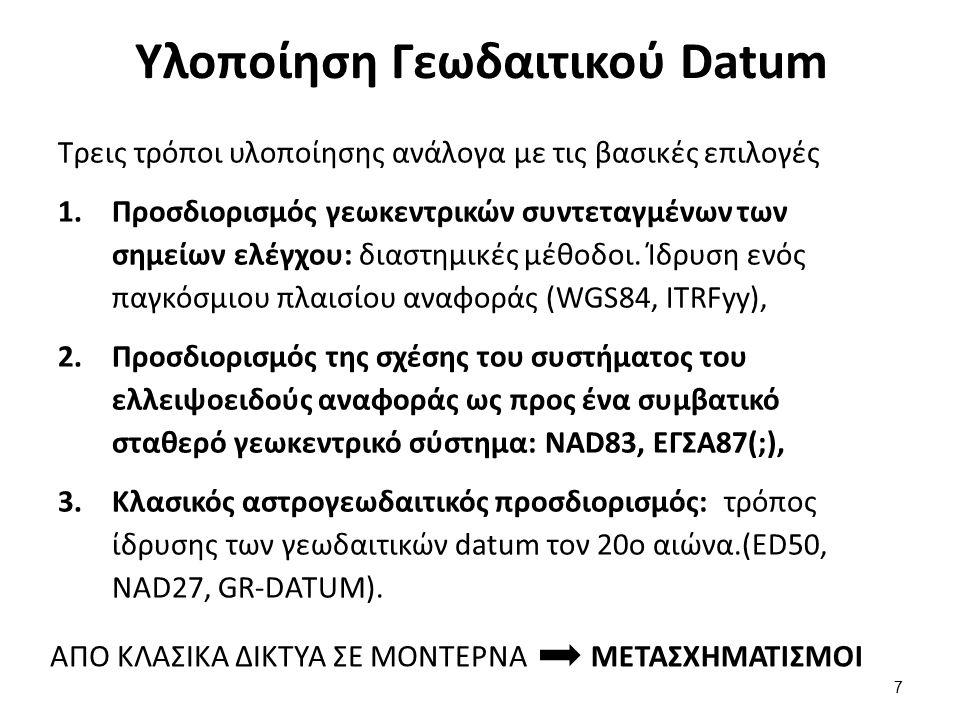 Υλοποίηση Γεωδαιτικού Datum Τρεις τρόποι υλοποίησης ανάλογα με τις βασικές επιλογές 1.Προσδιορισμός γεωκεντρικών συντεταγμένων των σημείων ελέγχου: δι