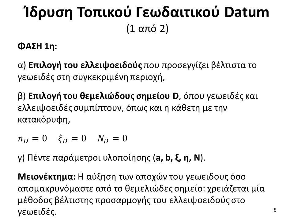 Ίδρυση Τοπικού Γεωδαιτικού Datum (2 από 2) ΦΑΣΗ 2η: α) Σχεδιασμός και μέτρηση του βασικού τριγωνομετρικού δικτύου (Εθνικό δίκτυο Α τάξης - αποστάσεις μερικών δεκάδων χιλιομέτρων), β) Παρατηρήσεις: Οριζόντιες γωνίες και διευθύνσεις, ζενίθειες γωνίες (αναγωγές), αποστάσεις και αστρονομικά αζιμούθια, γ) Πρώτη επίλυση δικτύου: Γνωστές συντεταγμένες (αφετηρία του τριγωνισμού π.χ., σημείο D).