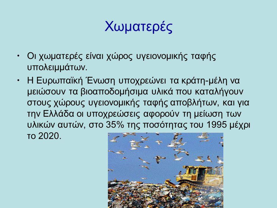 Χωματερές  Οι χωματερές είναι χώρος υγειονομικής ταφής υπολειμμάτων.
