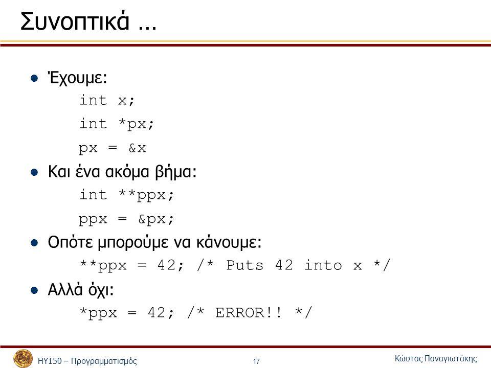 ΗΥ150 – Προγραμματισμός Κώστας Παναγιωτάκης 17 Συνοπτικά … Έχουμε: int x; int *px; px = &x Και ένα ακόμα βήμα: int **ppx; ppx = &px; Οπότε μπορούμε να