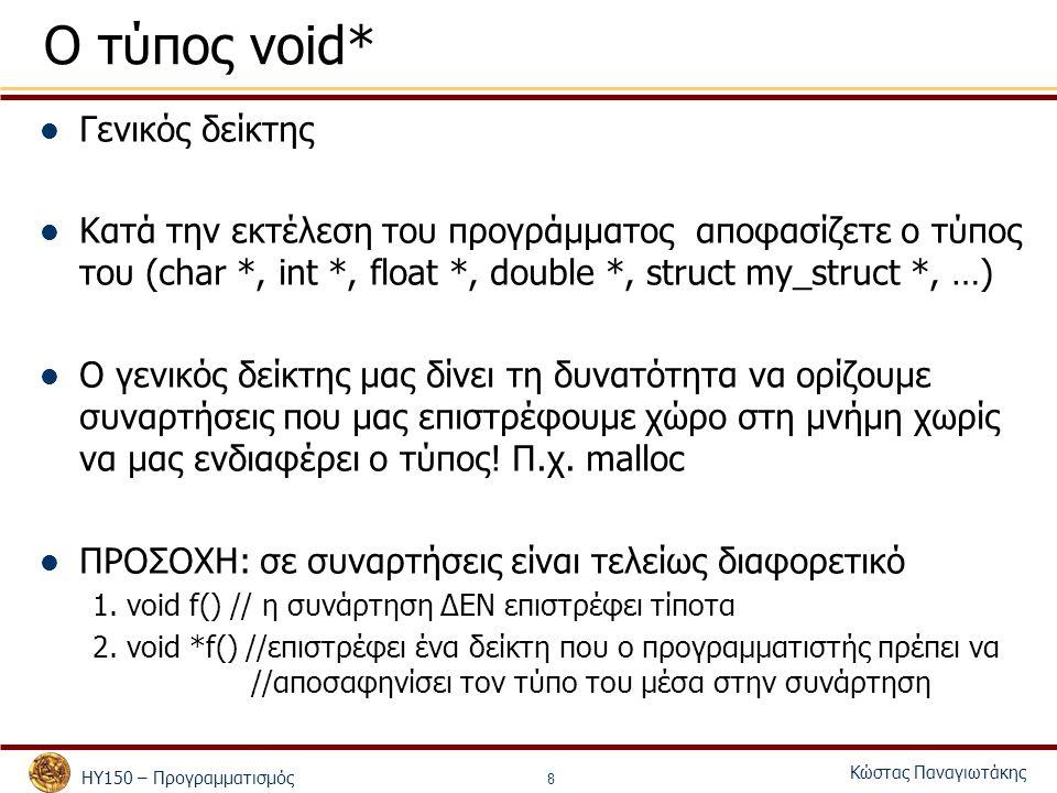 ΗΥ150 – Προγραμματισμός Κώστας Παναγιωτάκης 8 Ο τύπος void* Γενικός δείκτης Κατά την εκτέλεση του προγράμματος αποφασίζετε ο τύπος του (char *, int *,