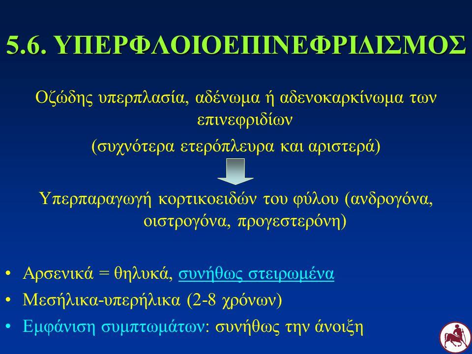5.6. ΥΠΕΡΦΛΟΙΟΕΠΙΝΕΦΡΙΔΙΣΜΟΣ Οζώδης υπερπλασία, αδένωμα ή αδενοκαρκίνωμα των επινεφριδίων (συχνότερα ετερόπλευρα και αριστερά) Υπερπαραγωγή κορτικοειδ