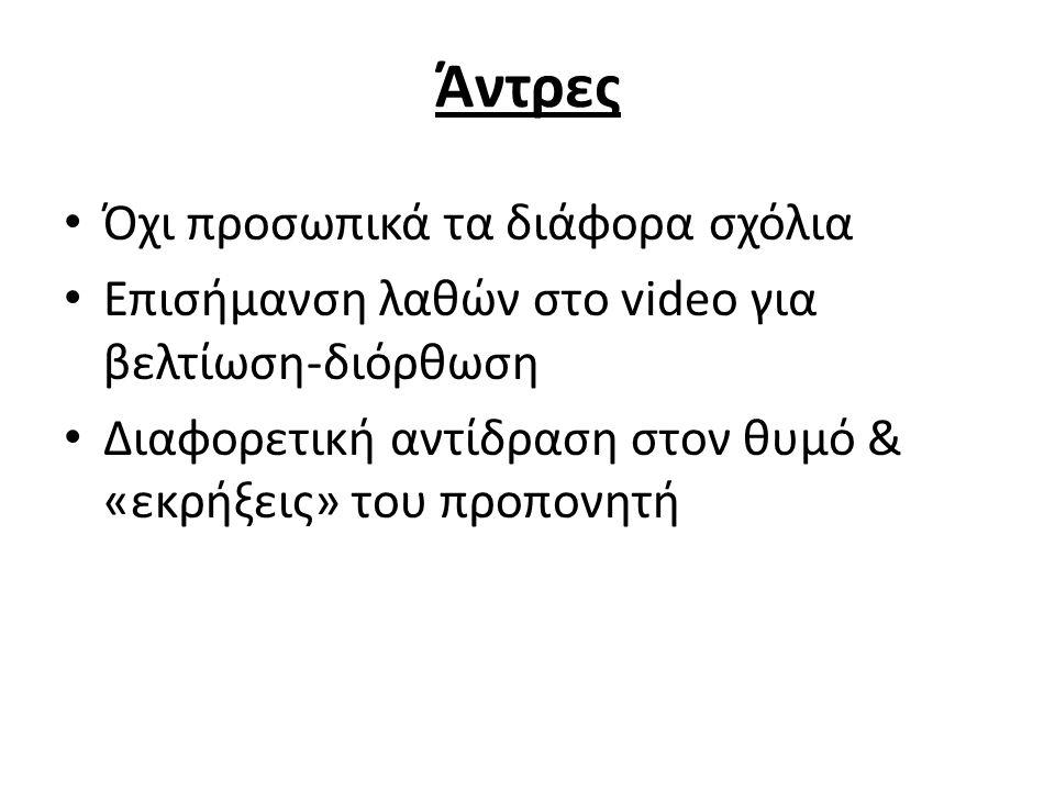 Άντρες Όχι προσωπικά τα διάφορα σχόλια Επισήμανση λαθών στο video για βελτίωση-διόρθωση Διαφορετική αντίδραση στον θυμό & «εκρήξεις» του προπονητή