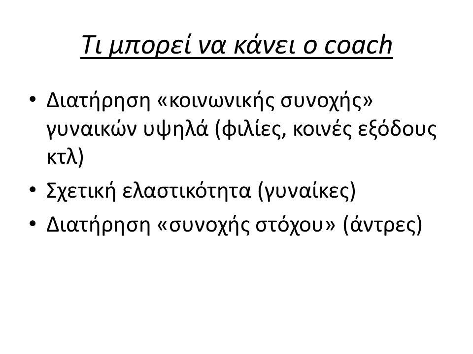 Τι μπορεί να κάνει ο coach Διατήρηση «κοινωνικής συνοχής» γυναικών υψηλά (φιλίες, κοινές εξόδους κτλ) Σχετική ελαστικότητα (γυναίκες) Διατήρηση «συνοχ