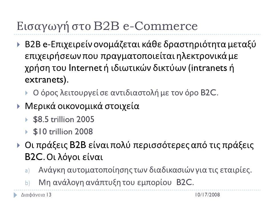 Εισαγωγή στο B2B e-Commerce  Β 2 Β e- Επιχειρείν ονομάζεται κάθε δραστηριότητα μεταξύ επιχειρήσεων που πραγματοποιείται ηλεκτρονικά με χρήση του Inte