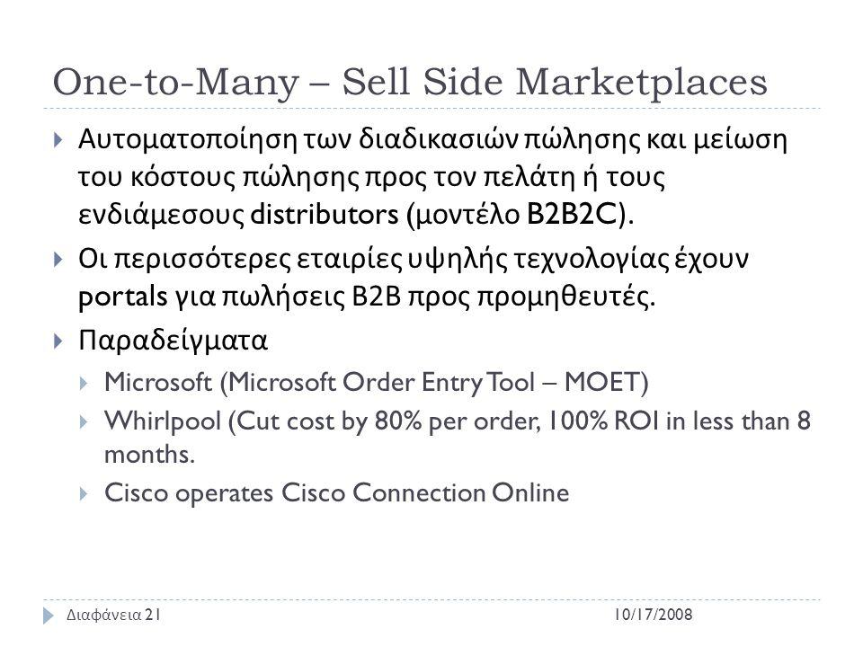 One-to-Many – Sell Side Marketplaces  Αυτοματοποίηση των διαδικασιών πώλησης και μείωση του κόστους πώλησης προς τον πελάτη ή τους ενδιάμεσους distri