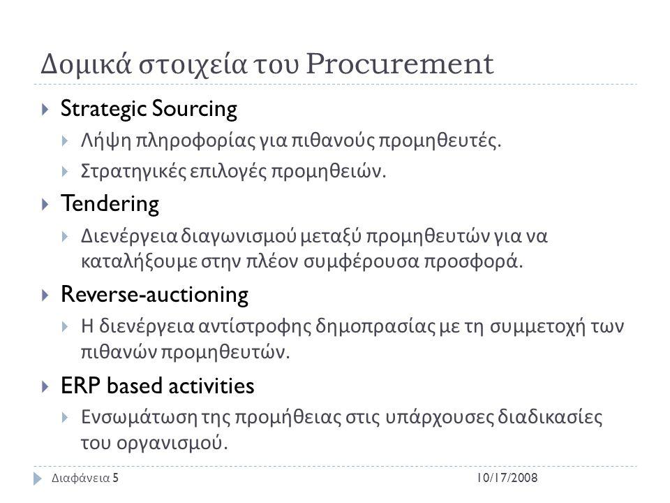 Δομικά στοιχεία του Procurement  Strategic Sourcing  Λήψη πληροφορίας για πιθανούς προμηθευτές.  Στρατηγικές επιλογές προμηθειών.  Tendering  Διε