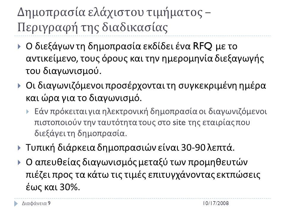 Δημοπρασία ελάχιστου τιμήματος – Περιγραφή της διαδικασίας  Ο διεξάγων τη δημοπρασία εκδίδει ένα RFQ με το αντικείμενο, τους όρους και την ημερομηνία