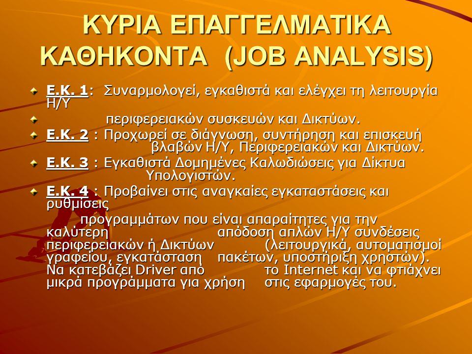 ΚΥΡΙΑ ΕΠΑΓΓΕΛΜΑΤΙΚΑ ΚΑΘΗΚΟΝΤΑ (JOB ANALYSIS) Ε.Κ. 1: Συναρμολογεί, εγκαθιστά και ελέγχει τη λειτουργία Η/Υ περιφερειακών συσκευών και Δικτύων. περιφερ