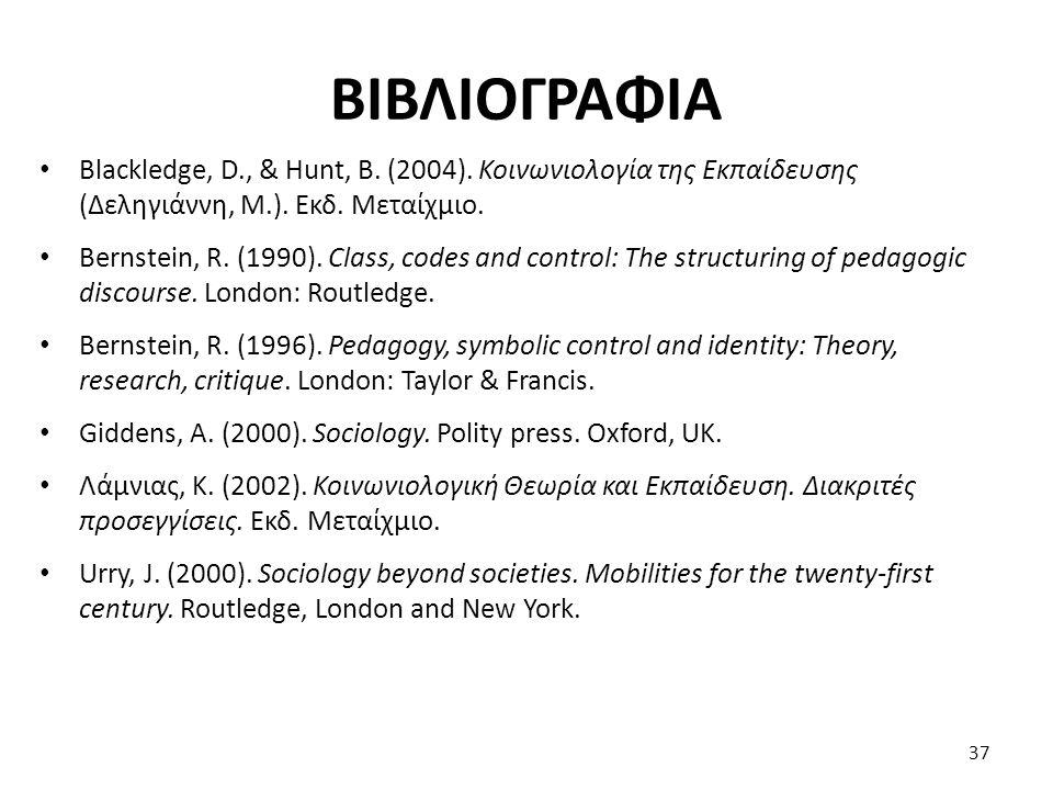 ΒΙΒΛΙΟΓΡΑΦΙΑ Blackledge, D., & Hunt, B. (2004). Κοινωνιολογία της Εκπαίδευσης (Δεληγιάννη, Μ.). Εκδ. Μεταίχμιο. Bernstein, R. (1990). Class, codes and