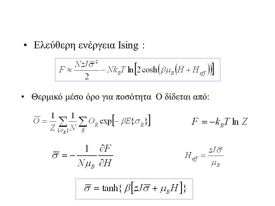 Ελεύθερη ενέργεια Ising : Θερμικό μέσο όρο για ποσότητα O δίδεται από:
