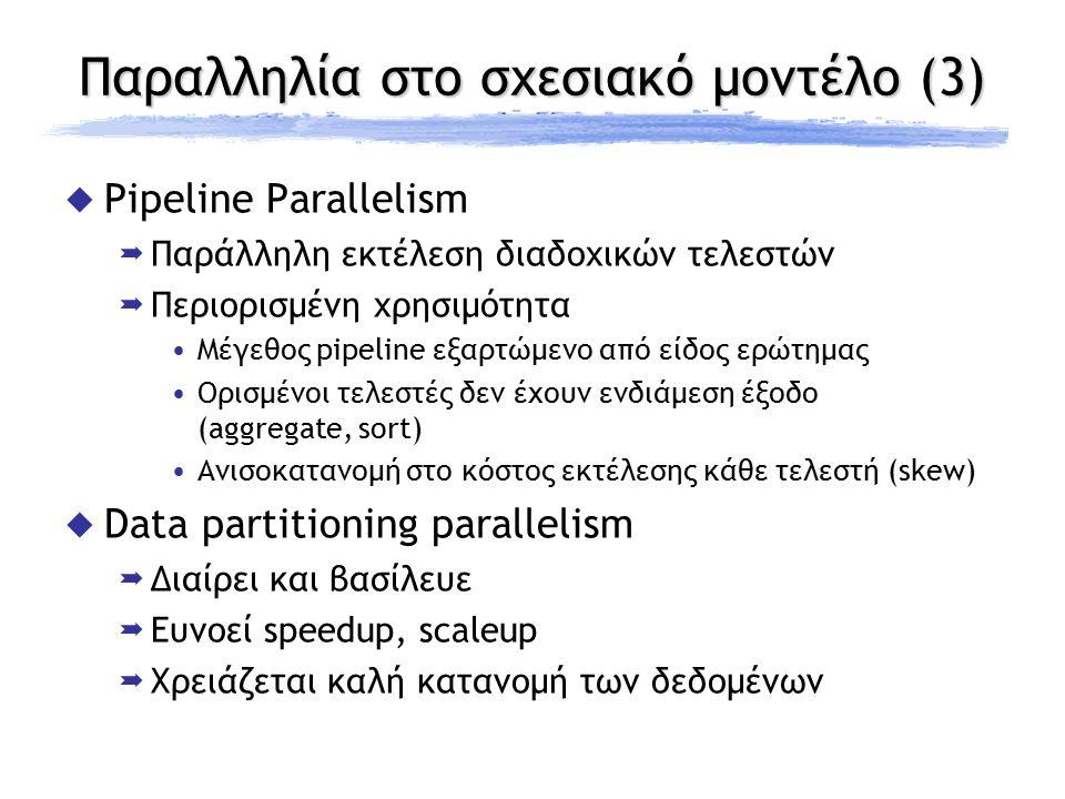 Παραλληλία στο σχεσιακό μοντέλο (3)  Pipeline Parallelism  Παράλληλη εκτέλεση διαδοχικών τελεστών  Περιορισμένη χρησιμότητα Μέγεθος pipeline εξαρτώ